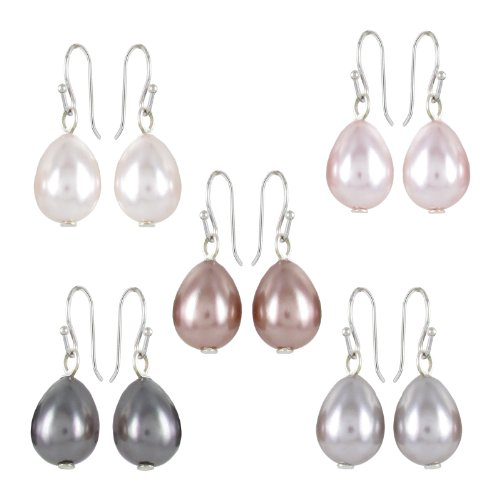 Cream, Champagne, Pink, Light Grey and Dark Grey Simulated Pearl Multiple Drop Earring Set