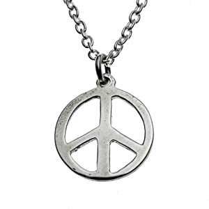 Small Peace Symbol Silver-dipped Pendant Necklace on 18
