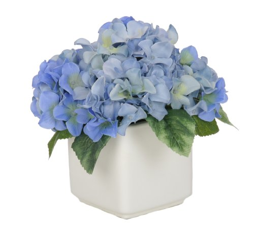 Artificial Blue Hydrangea in White Ceramic Cube