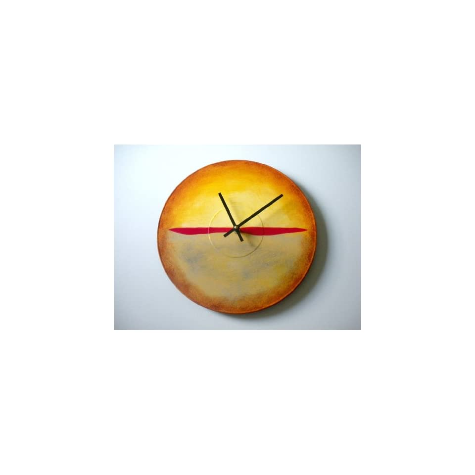 Bearly Art Hand Painted Modern Abstract Wall Clock Adapted From Mark Rothko Painting