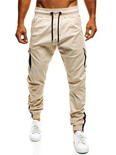 OZONEE Uomo Jogger Chino Jogging Pantaloni Cascante Pantaloni Sport Jogging Fitness ATHLETIC 705 - cotone, beige, 100% cotone.\n\t\t\t\t 100% cotone, Uomo, L