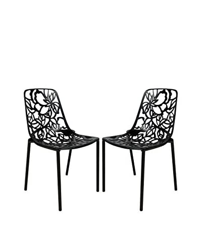 LeisureMod Set of 2 Modern Devon Armless Aluminum Chairs, Black