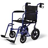 "Deluxe Aluminum Transport Wheelchair. 19"" Wide, Permanent, Full-Length Arms, Swing-Away Detachable Footrests. 12 ½"" Wheels Provide a More Stable Ride. 300lb. Weight Capacity."