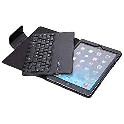Crazy Genie Apple iPad 2/3/4 Keyboard Case - Premium Muti-angle Stand Folio Cover Case with Slim Magnetically Detachable Bluetooth Keyboard for Apple iPad 2/3/4 (Black)
