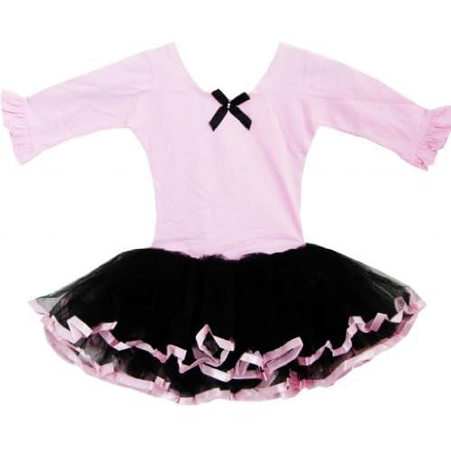 DM61 こどもドレス キッズドレス チュチュドレス バレエ ダンス ベルト トリミング 層 ピンク 90cm