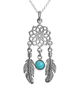 Sterling Silver Dreamcatcher Pendant Necklace with Feather and Turquoise Pendant