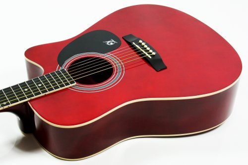Lindo Apprentice Series Cutaway Acoustic Guitar with Carry Case - Red Gloss