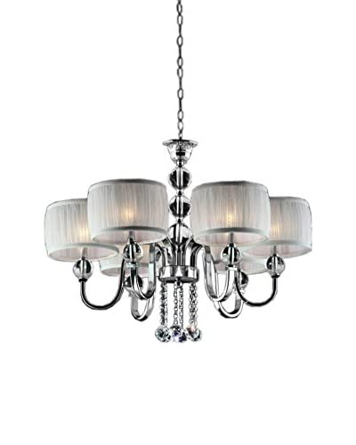 ORE International Pure Essence 6-Light Ceiling Lamp, Silver/Ivory
