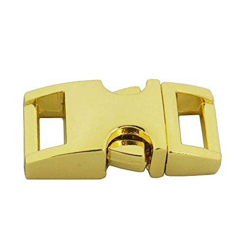 """Bluemoona 5 Pcs - 3/8"""" 10mm Metal Buckles Side Release Shackle webbing strap for Bracelet Paracord (Gold)"""