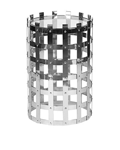 Prima Design Source Riveted Metal & Glass Accent Table, Polished Nickel