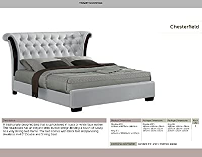 Double Bed, Double 4ft 6 Leather bed, King Size Bed, 5ft King Size Leather Bed, Chesterfield Designer Leather Bed White and black Option Available