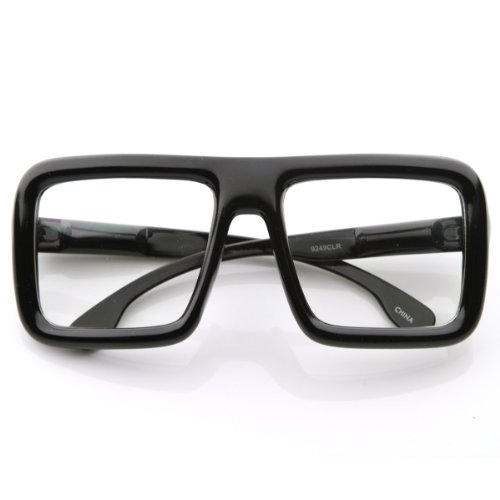zeroUV - Large Retro-Nerd Bold Thick Square Frame Clear
