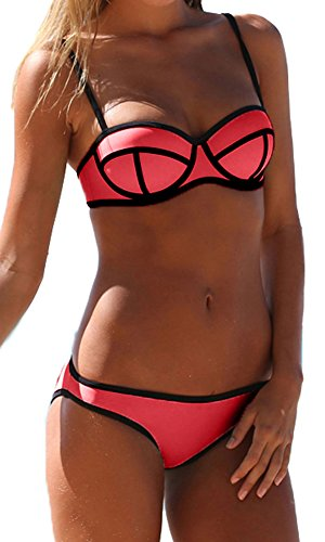Imilan Luxury Push up Bright Diving Suit Neoprene Bikini Set Swimsuit Swimwear (L (US Size 6-8), Watermelon Red2) image