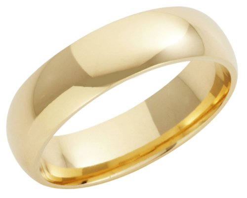 Wedding Ring, 9 Carat Yellow Gold Heavy Court Shape, 6mm Band Width