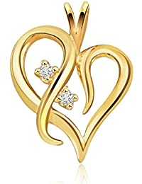 Kaizer Economica Heart Shape Gold Plated Pendant With American Diamond Sparkle For Women/Girls (Valentine/ Gifting)