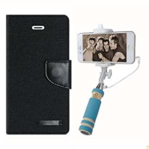 Aart Fancy Wallet Dairy Jeans Flip Case Cover for Nokia620 (Black) + Mini Fashionable Selfie Stick Compatible for all Mobiles Phones By Aart Store