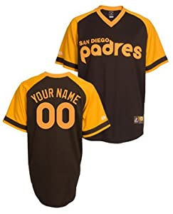 San Diego Padres Cooperstown Brown -Personalized with Your Name- Replica Jersey by Majestic