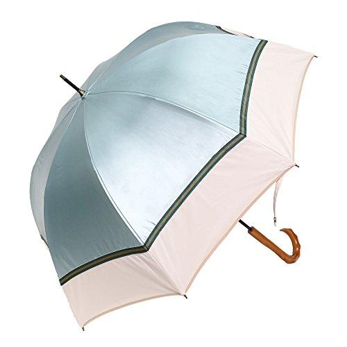 遮光ストライプグログランかわず張り長日傘 (ミントグリーン ×オフホワイト)