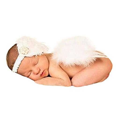 [Jiuhong Baby Angel Feather Butterfly Wings Photo Prop Girls Hair Accessories Costume Photo Prop Outfit,] (Baby Angel Wings Costumes)