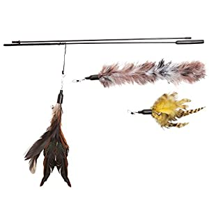 Feather Wand Cat Toy (Includes 3x Feather Refills) - These Natural Feathers Are Guaranteed To Drive Your Cat Wild