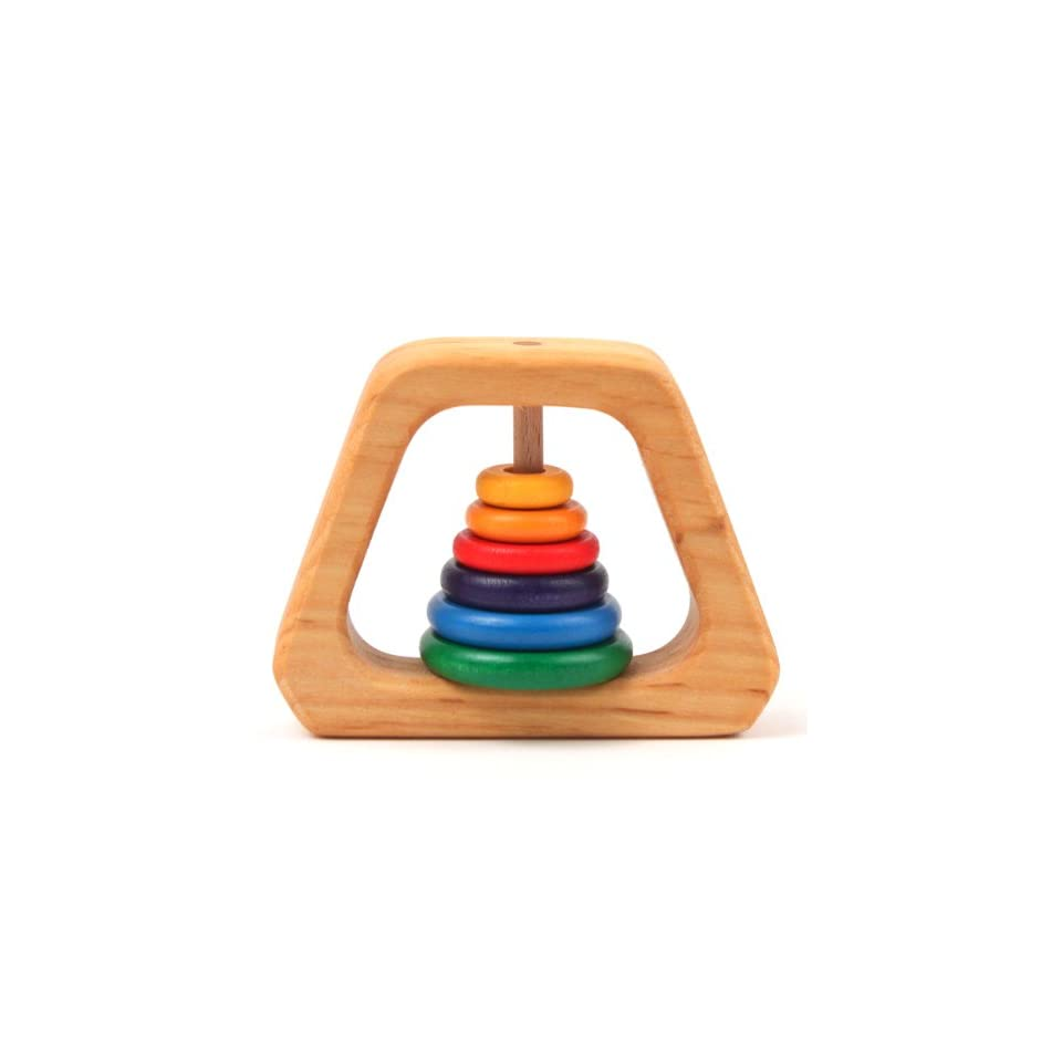 Grimms Natural Wood Pyramid Baby Rattle & Teether with 6 Rainbow Colored Rings