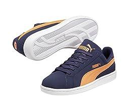 PUMA 356753 Mens Puma Smash Buck Shoes, Peacoat/Vermillion Orange - 7