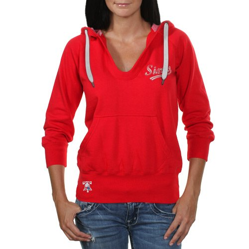 NBA Touch by Alyssa Milano Philadelphia 76ers Ladies In the Bleachers Pullover Hoodie Sweatshirt - Red (Small) at Amazon.com