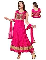 Ritu Creation Women's New Makhi Net Stitched Anarkali Suit With Embroided Work And Spagetti Pattern(Rani Pink) - B016RXY0JU