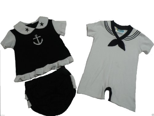 Twin Baby Boys Girl Set Cute 2pc Black Sailor Dress & Outfit Nautical