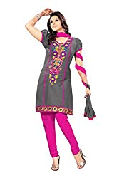 Pshopee Women's Cotton Resham Unstitched Dress Material