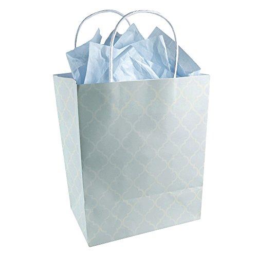 Baby Boy Blue And White Quatrefoil Pattern - Gender Reveal Baby Shower - Kraft Gift Bag (Set Of 8)