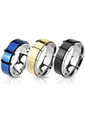 Ring Set Two Toned Spinner Bands Stainless Steel Rings - 3 Pieces Value Pack