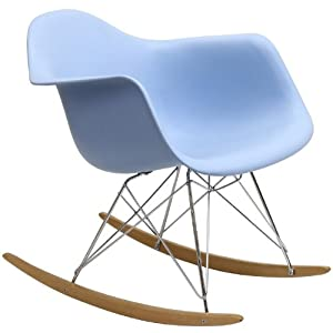 Home Life Retro Modern Rocking Lounge Cradle Chair with Ash-Wood Rockers - Blue