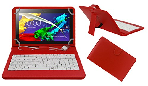 Acm Premium Usb Keyboard Tablet Case Holder Cover For Lenovo Tab 2 A8 With Free Micro Usb Otg - Red