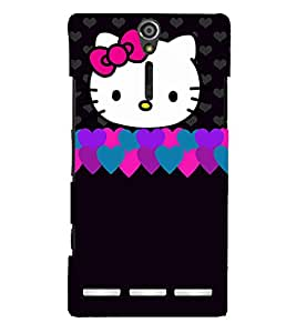 Cute Love Cat Pattern Cute Fashion 3D Hard Polycarbonate Designer Back Case Cover for Sony Xperia SL :: Sony Xperia S :: Sony Xperia SL LT26I LT26ii