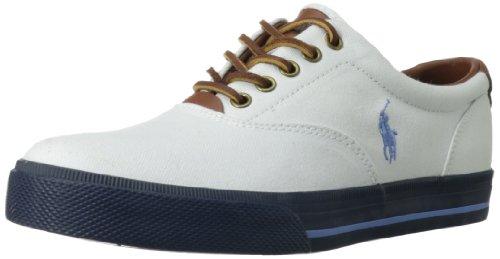 Polo Ralph Lauren Men'S Vaughn Fashion Sneaker,Pure White/Blue/Navy,11.5 D Us
