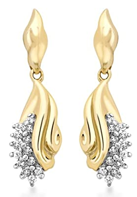 Carissima 9ct Yellow Gold 0.22ct Diamond Cluster Drop Earrings