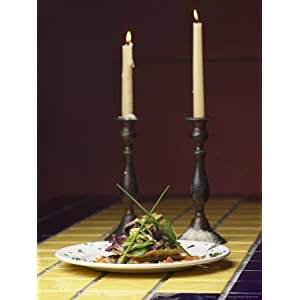 Romantic Gourmet Meal Beside Candles Stretched Canvas Poster Print, 18x24