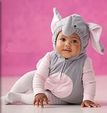 Carter's Elephant Halloween Costume 3 Pieces Gray Pink Hooded Top Shirt Tights NEW (18 months)