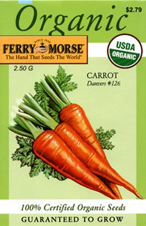 Ferry-Morse 3023 Organic Carrot Seeds, Danver's #126 (2.5 Gram Packet)