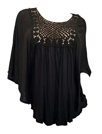 eVogues Plus Size Crochet Bodice Poncho Top at Amazon Women's
