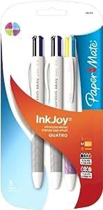 Paper Mate InkJoy Quatro Retractable Medium Point Advanced Ink Pens, 3 Multiple Colored (1832419)