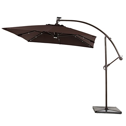 Abba patio 8 ft square outdoor solar powered 32 led for Solar patio umbrella replacement parts