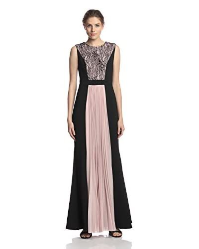 JS Collections Women's Lace Paneled Gown with Pleated Skirt