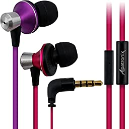 Earbuds, Alpatronix® [EX100] Universal High Performance Stereo In-Ear Headset with Built-in Microphone, Noise Isolating Earphones, Tangle-Free Headphones, Premium Metallic Alloy Housing, Enhanced BASS & 1-Button Playback Control for Android/iOS Smartphon