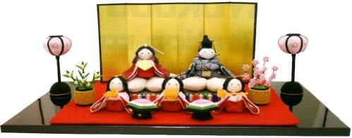 『桜雛5人揃い 屏風付き』 手作りちりめん細工 なごみの和雑貨 雛人形