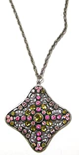 Anne Koplik Designs Sterling Silver Plated Necklace with Pink and Khaki Swarovski Crystals