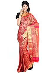 Pure Silk Kanjeevaram Hand Woven Saree-Red-DHLS53-VS-...