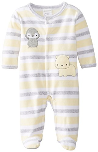 Absorba Unisex-Baby Newborn Uni Penguin Parade Velour Footie, White, 0-3 Months front-840565