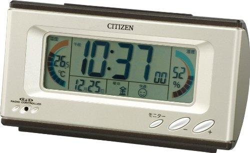 CITIZEN (シチズン) 目覚し時計 パルデジットグラフィ (シャンペンゴールド) デジタル 電波時計 温度表示 湿度表示 快適表示 8RZ098-018